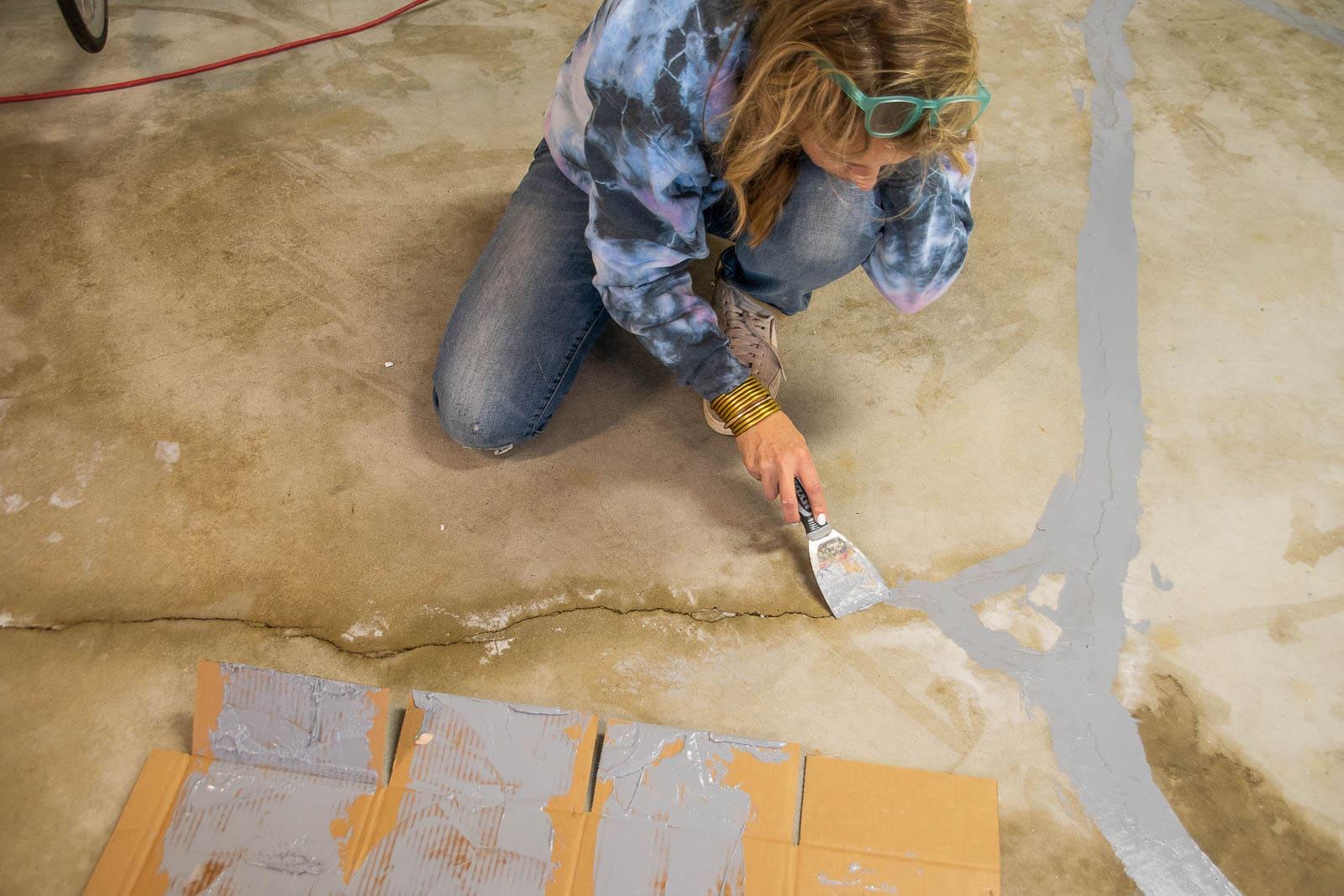 patching the floor cracks
