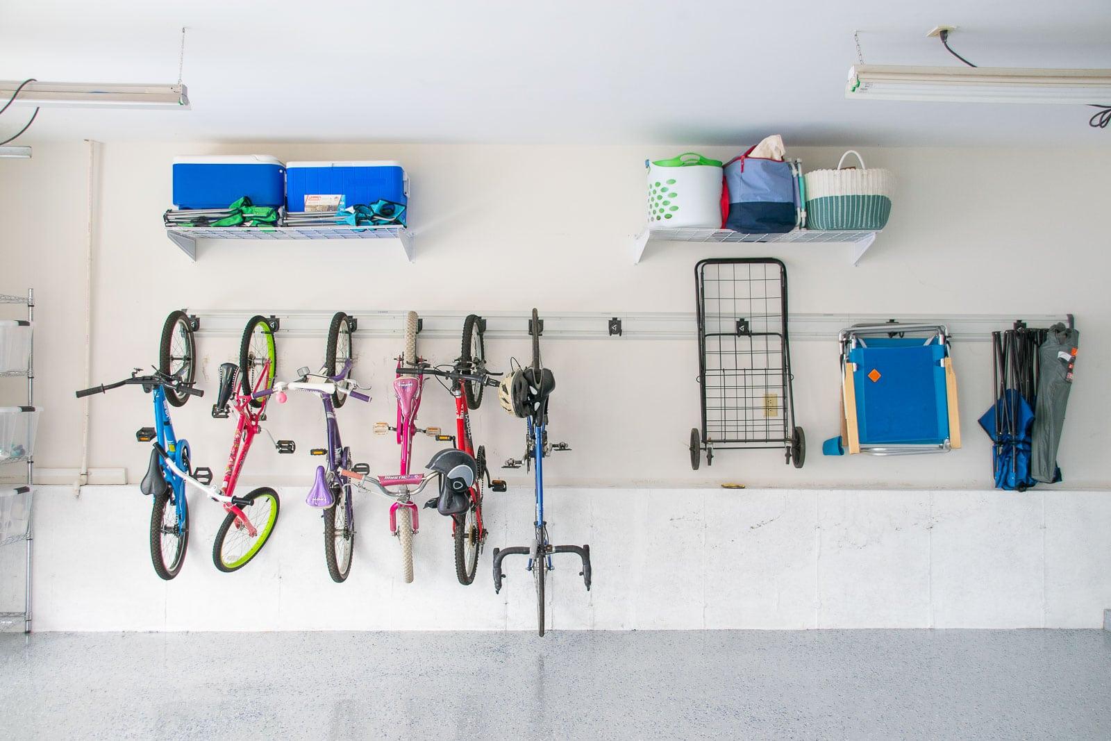 bikes on garage wall