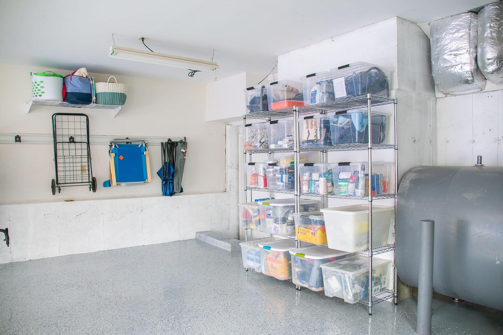 shelves in back of garage
