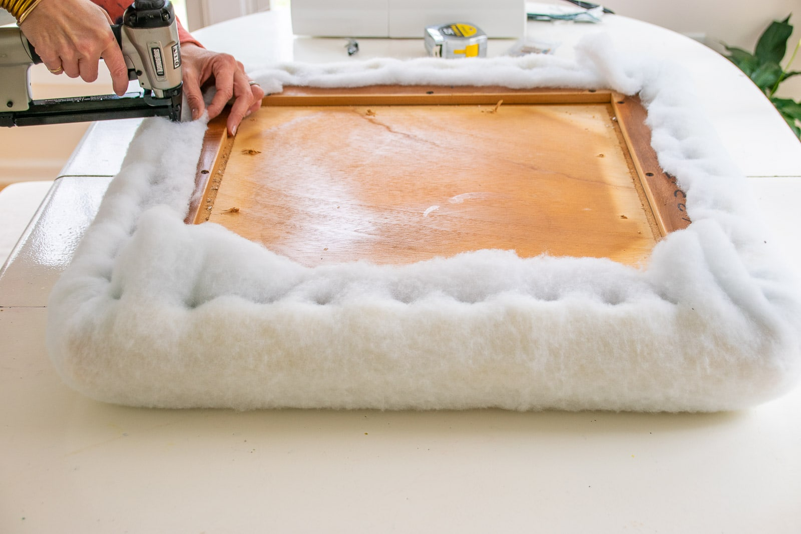 adding batting to padded table top