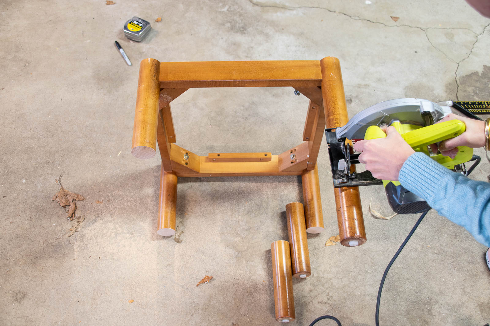 cut down the table legs to size