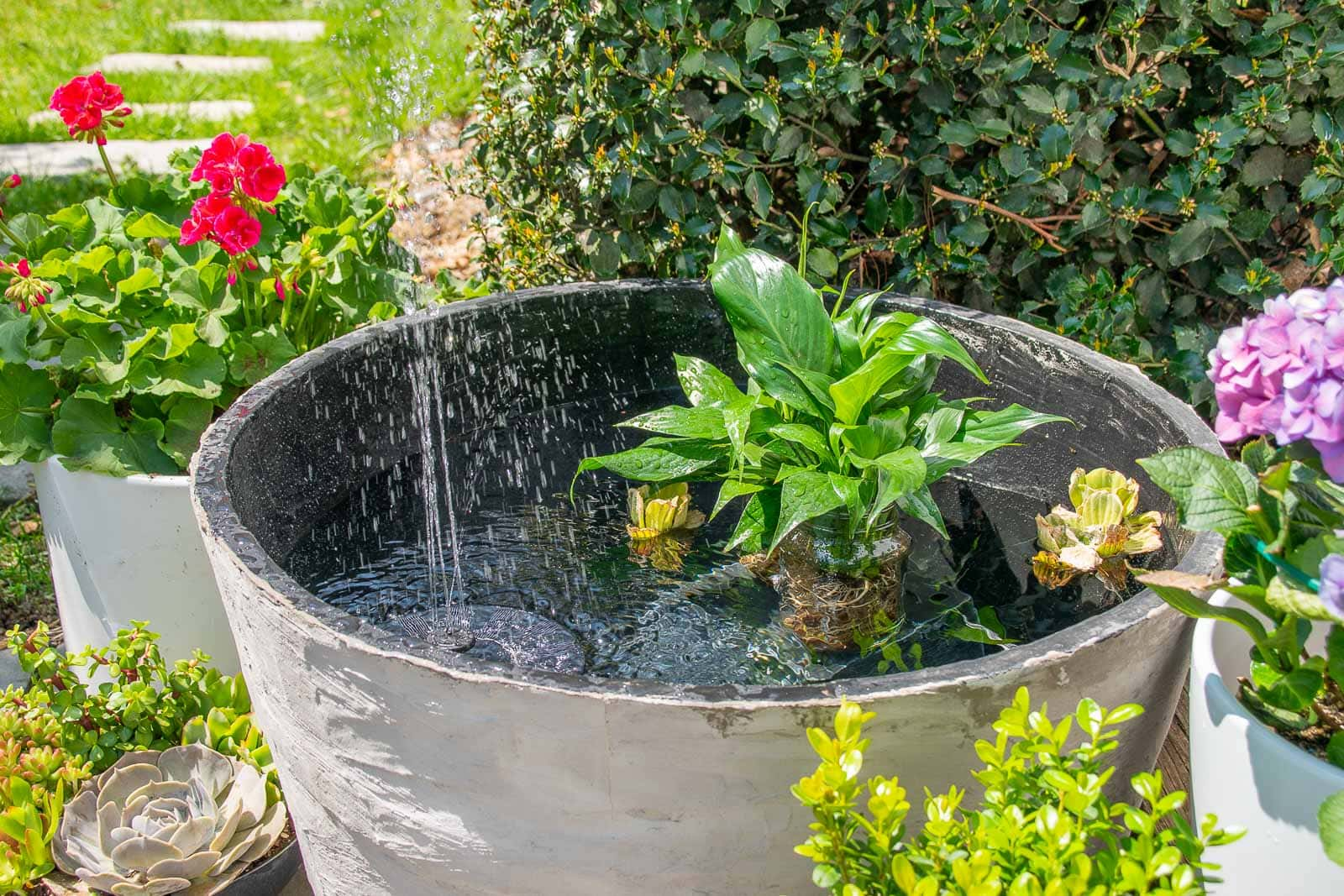 garden planter turned fountain