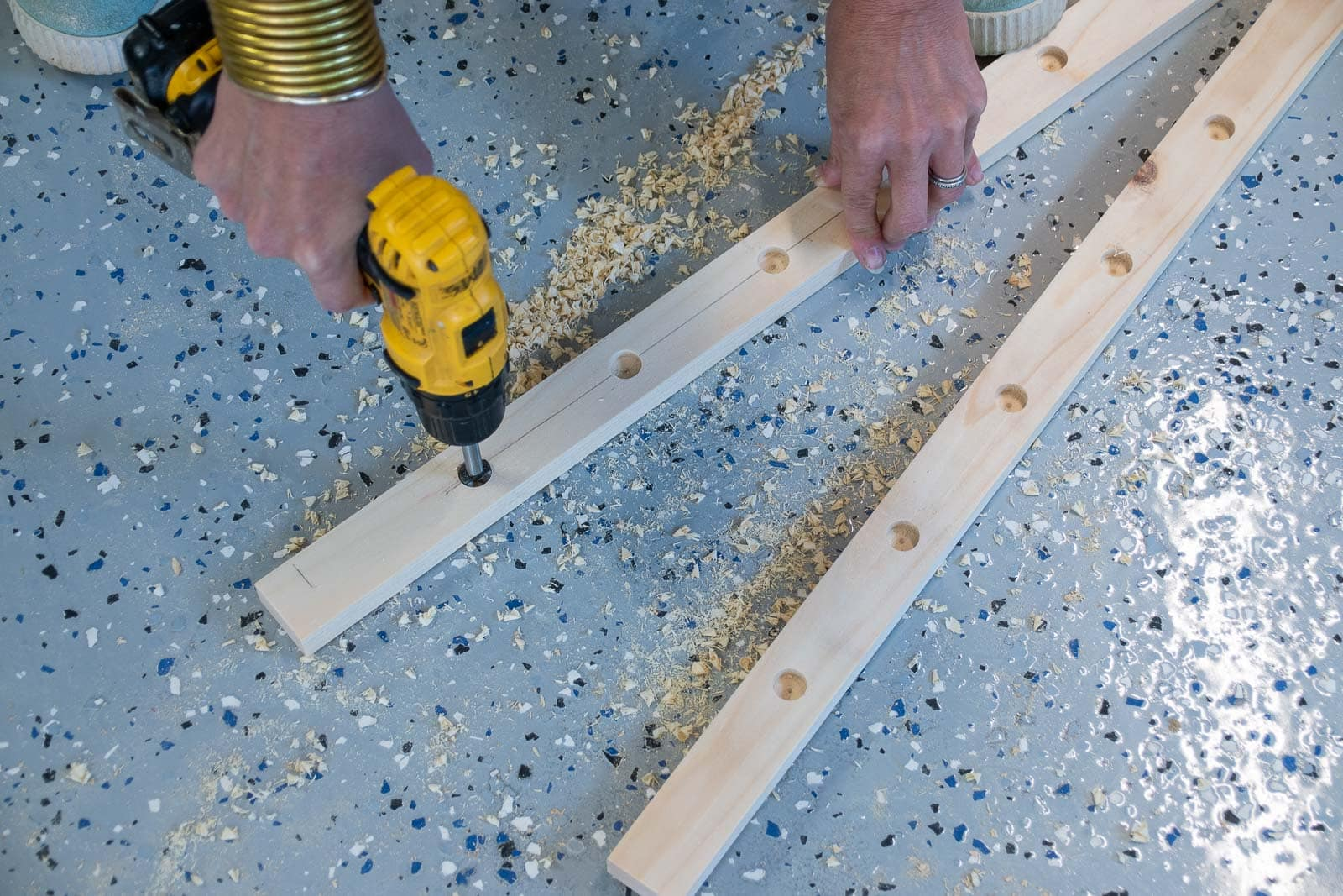 drill holes for drying rack