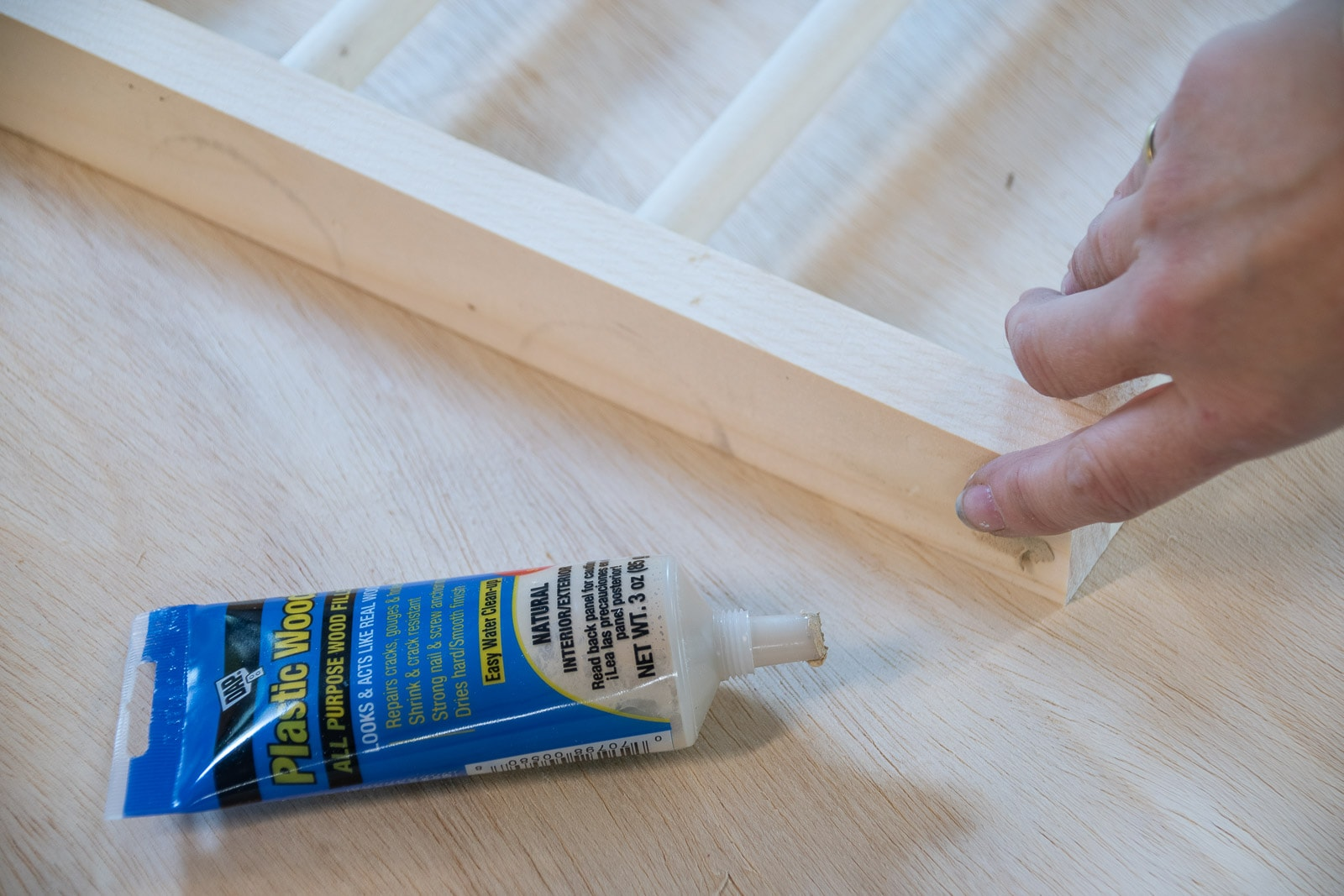 fill screw holes and paint drying rack
