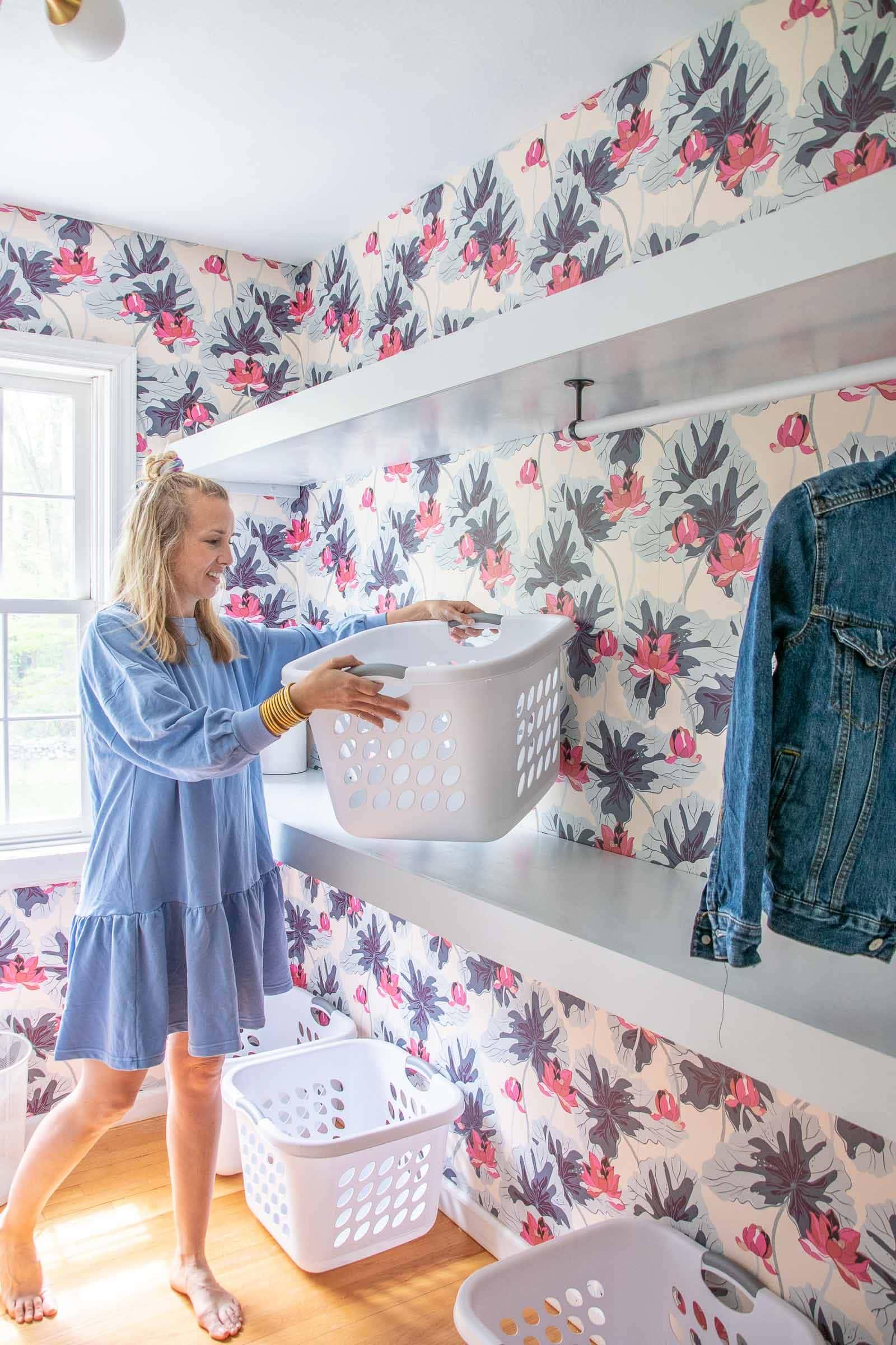 diy laundry room shelves