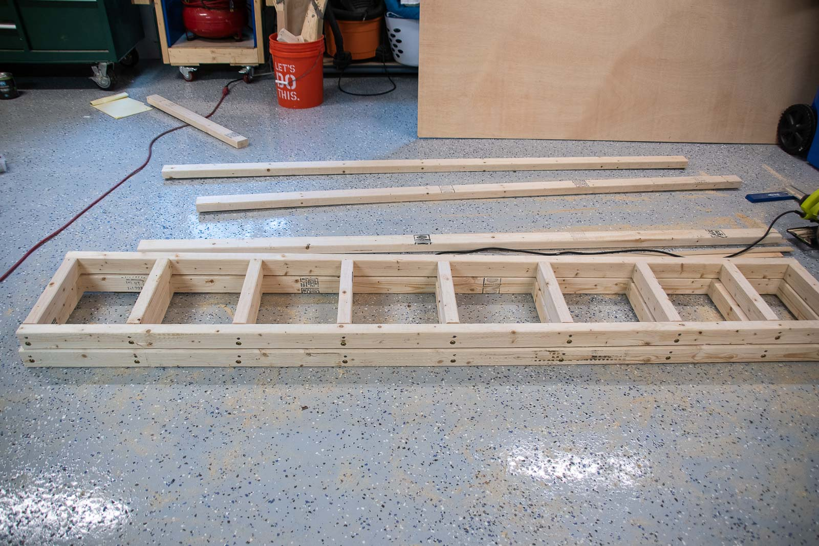 assemble shelves for laundry room