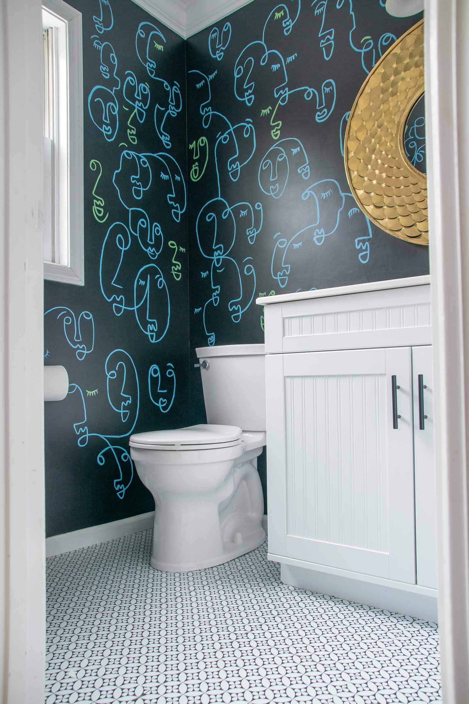 powder room makeover with adhesive tiles
