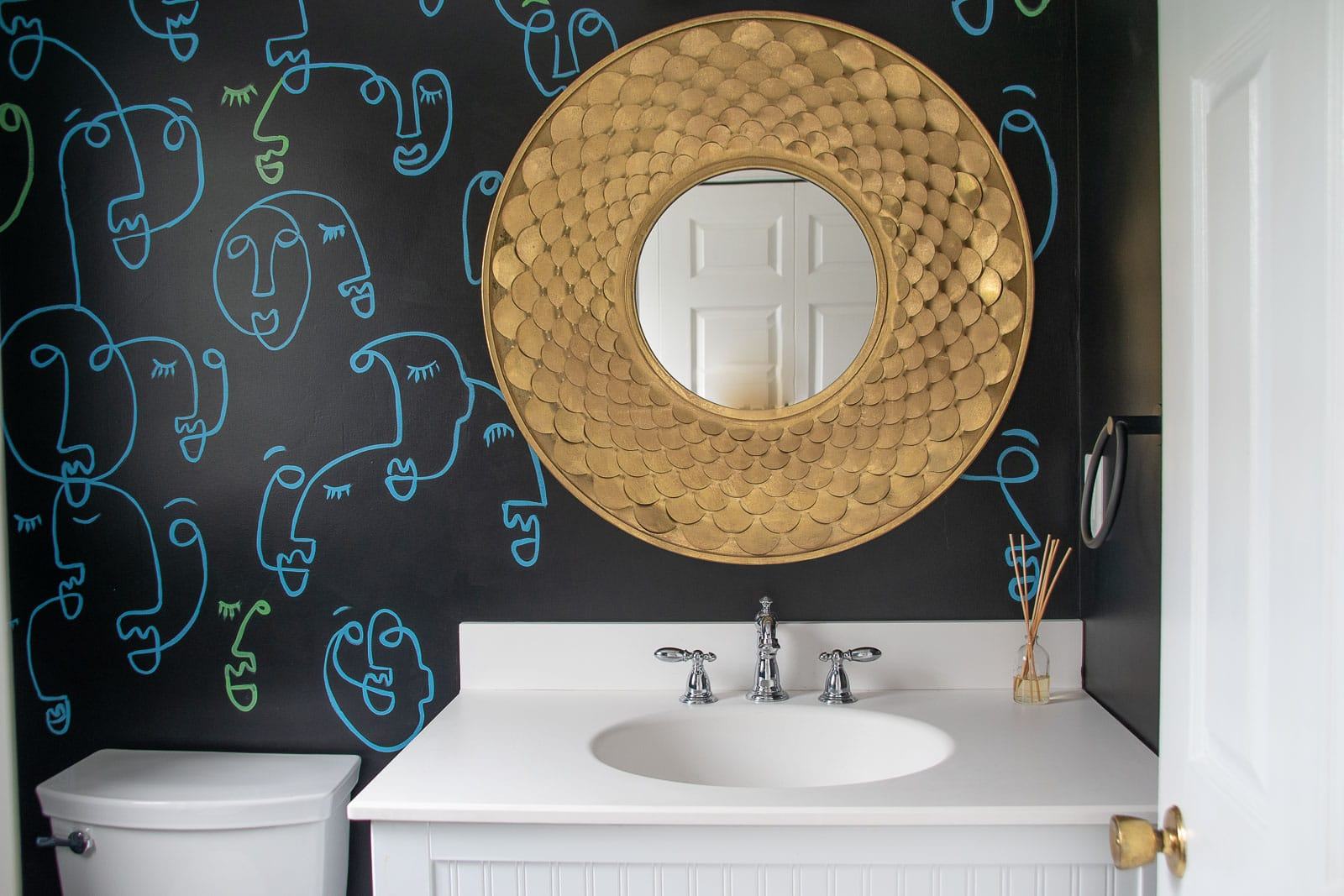 powder room makeover adhesive tiles