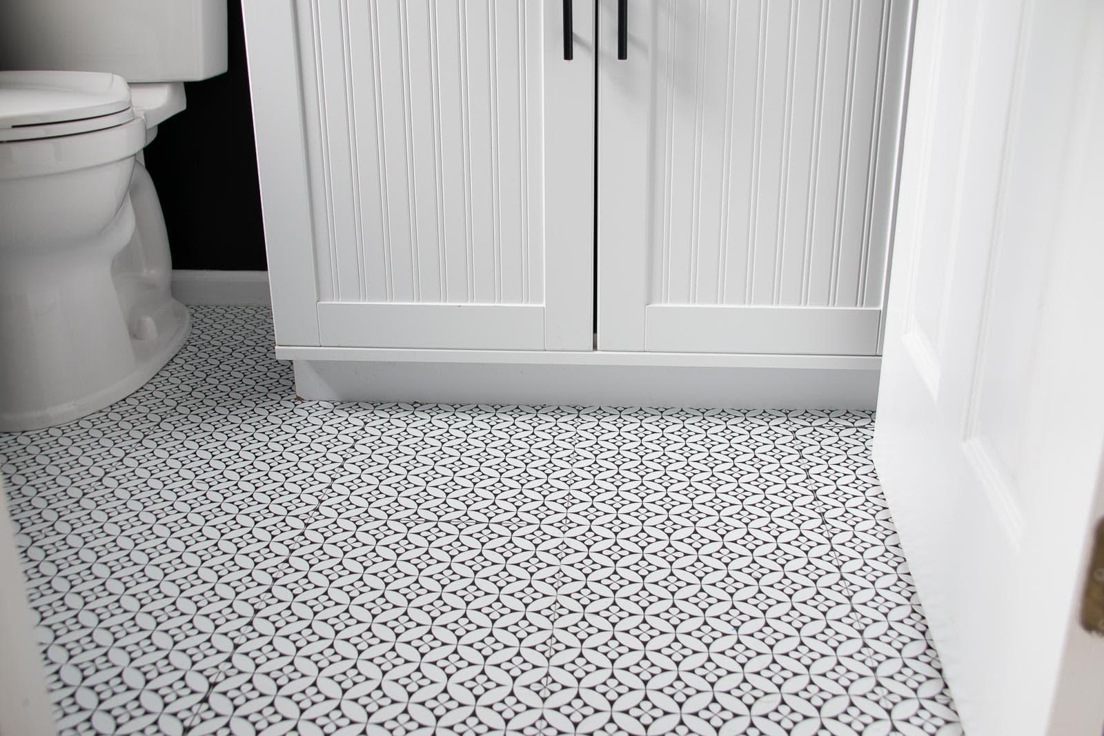 powder room adhesive tile