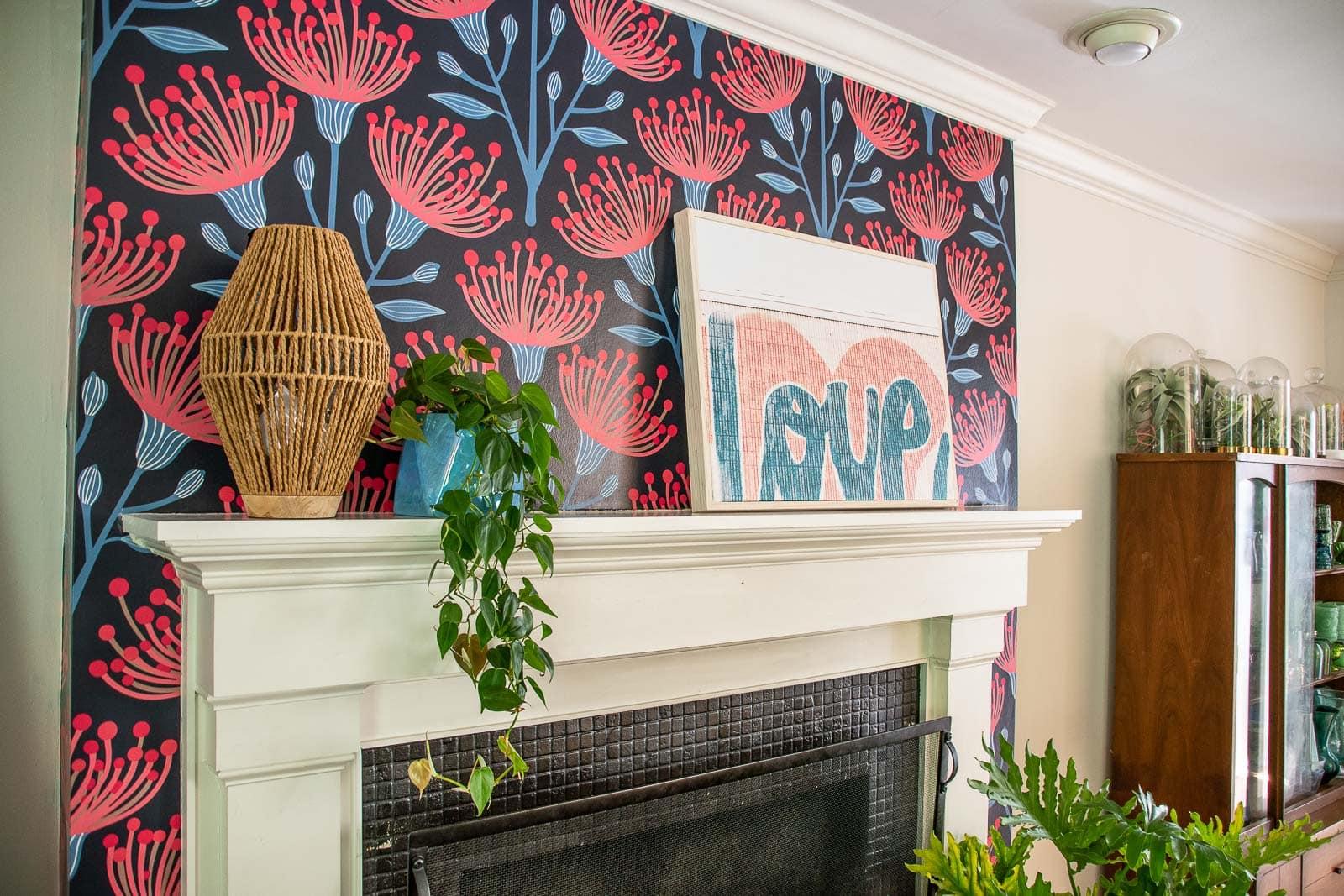 wallpaper around fireplace mantel