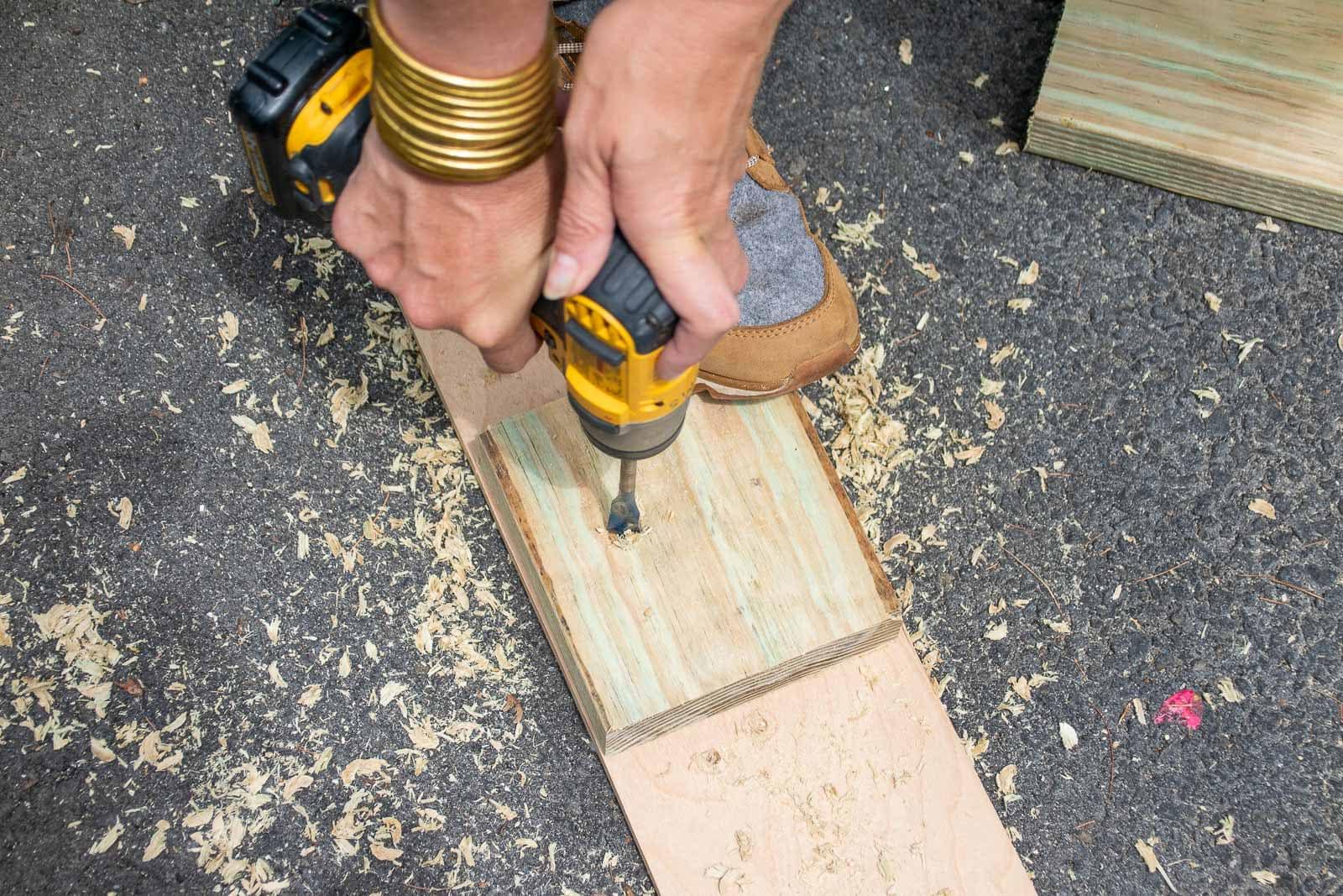 drilling holes through lumber