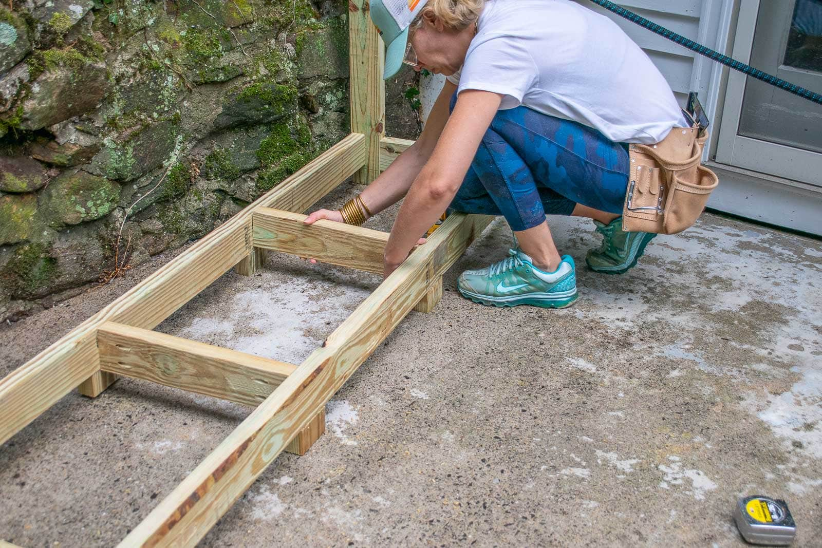 add support beams to floor of shed
