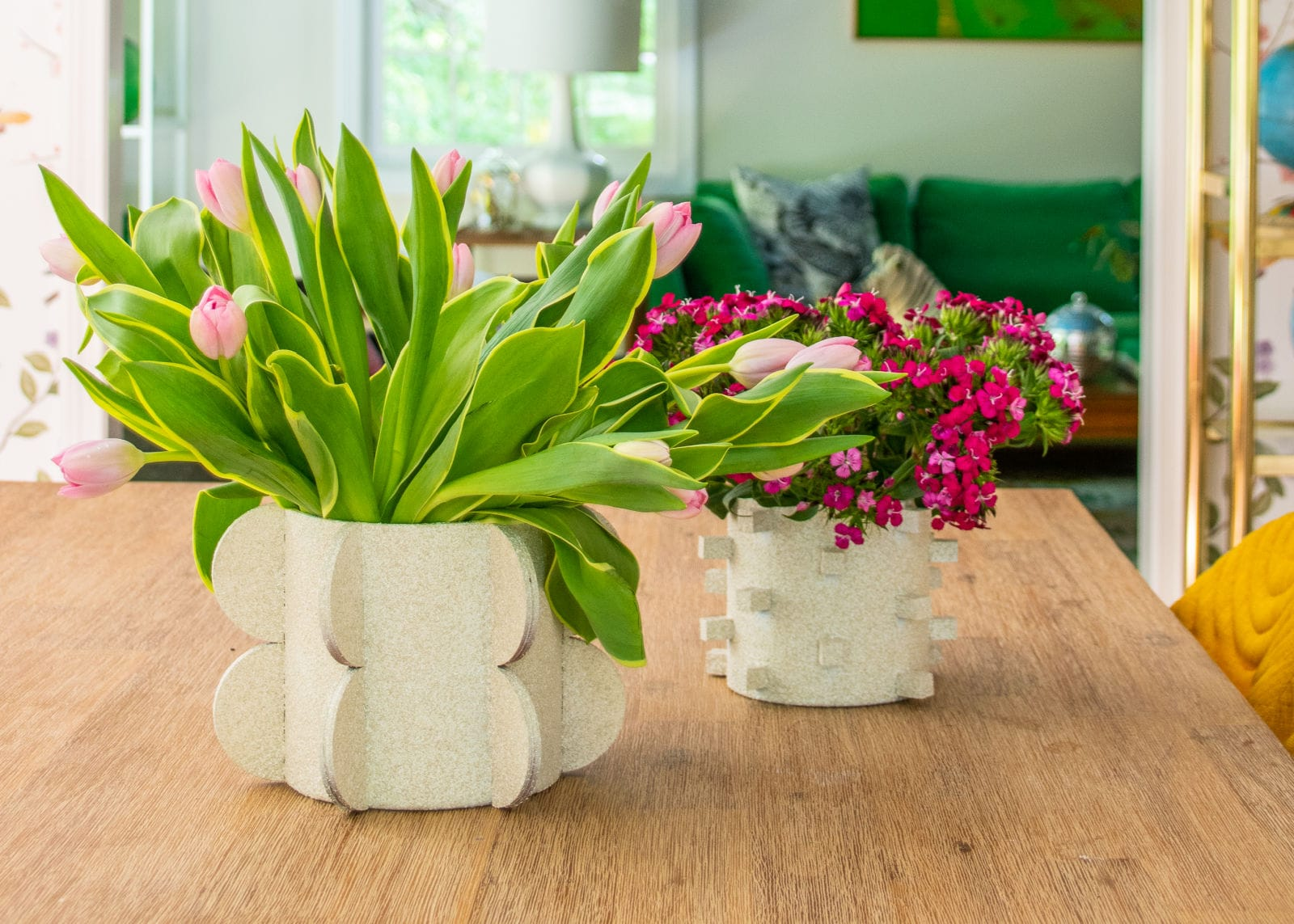 graphic shaped vases