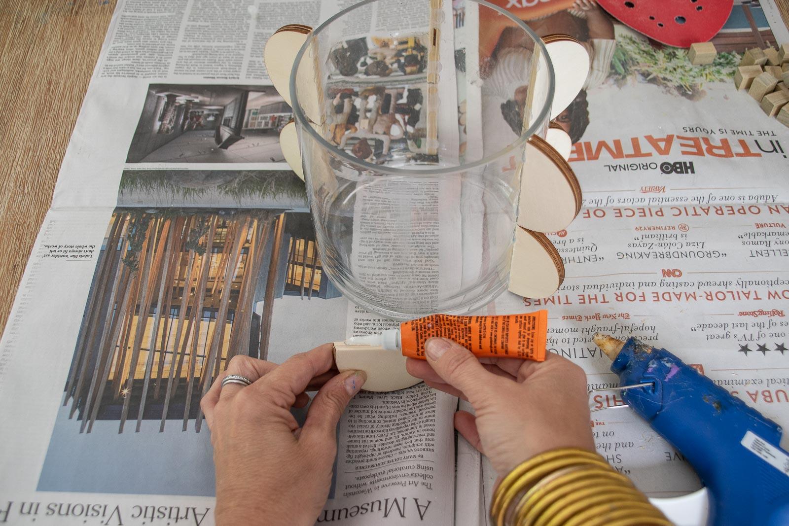 glue shapes onto vase