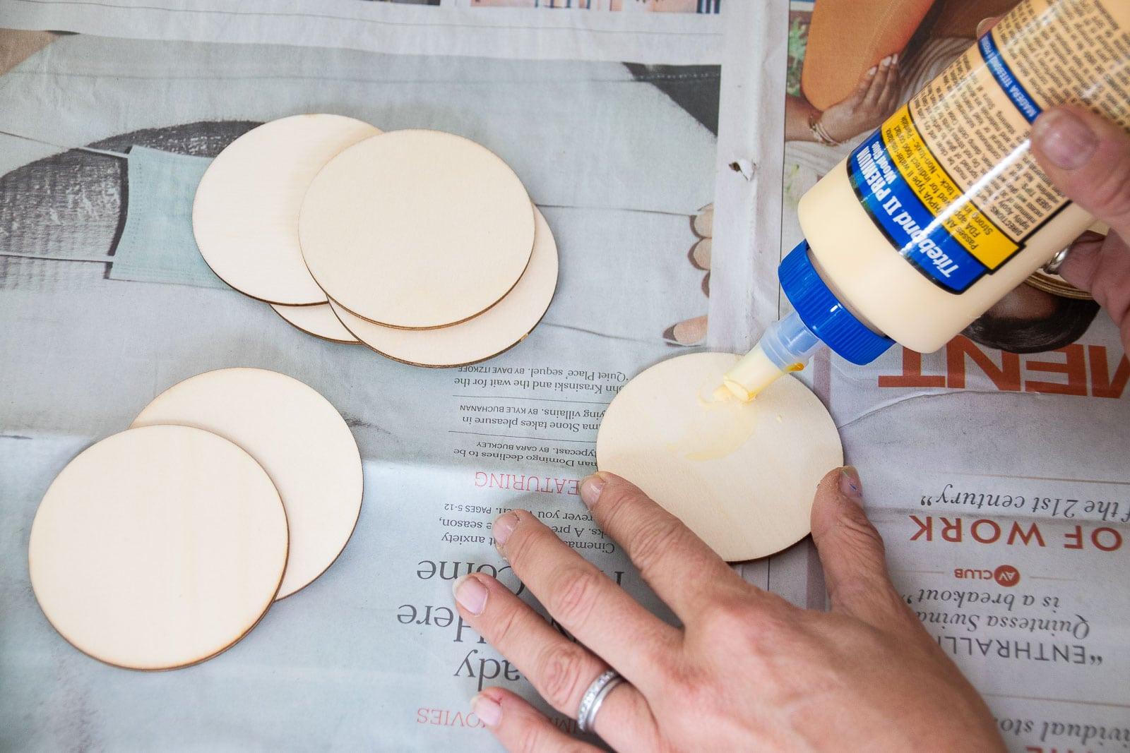 glue wood circles together