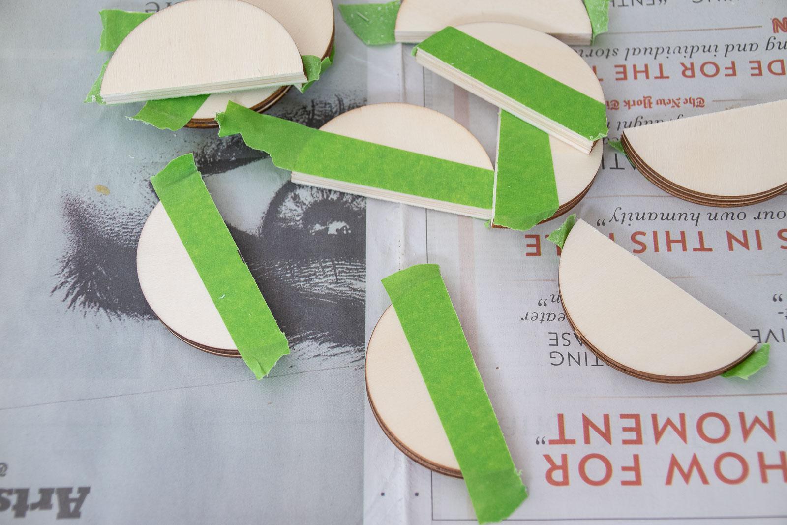 wooden circles cut in half