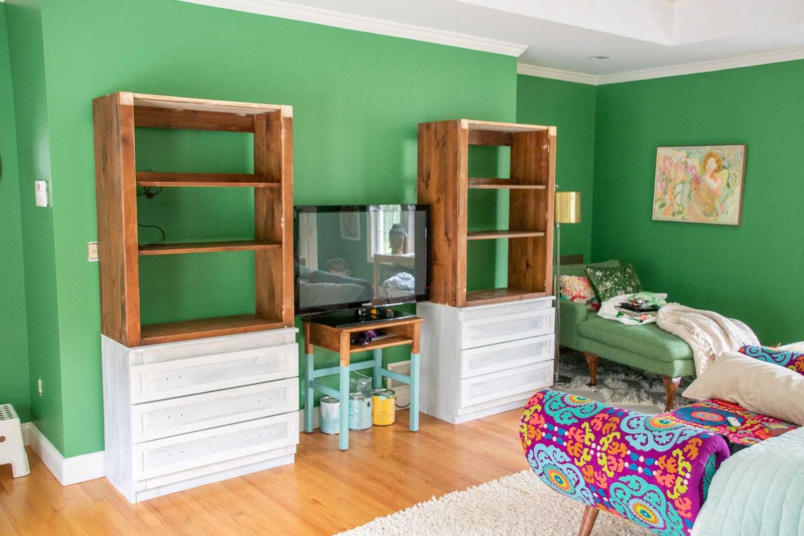 bookshelves in the space