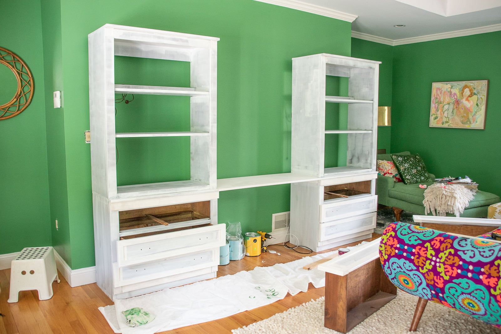 added desk to bookshelves