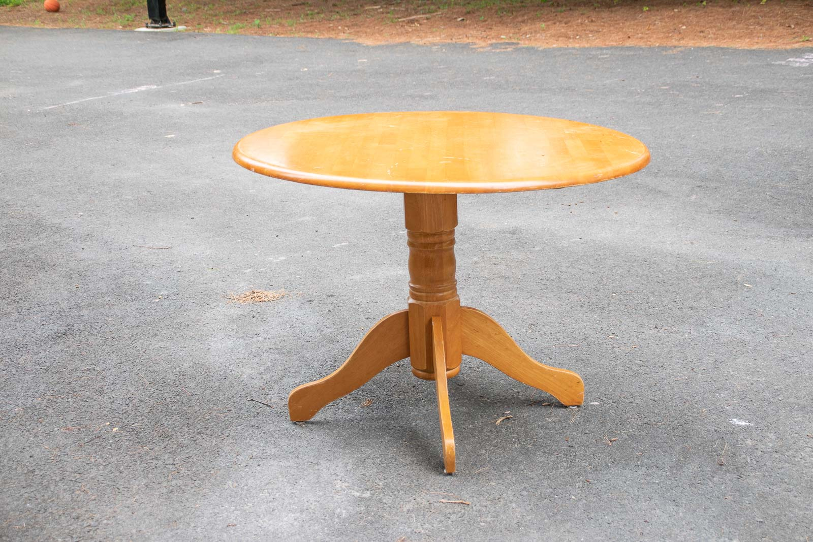 thrifted pedestal table