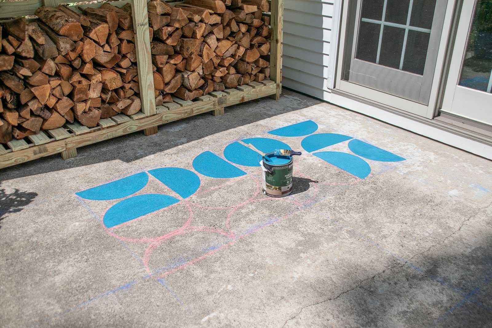 painted graphic concrete patio