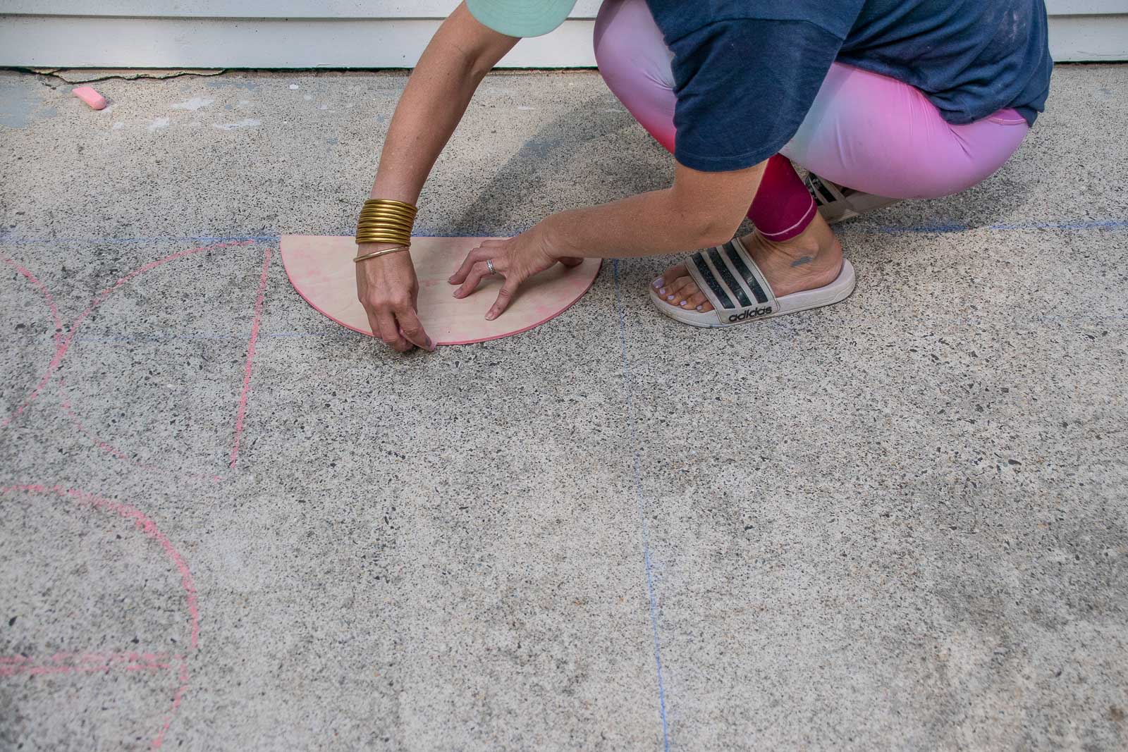 traced template onto side patio