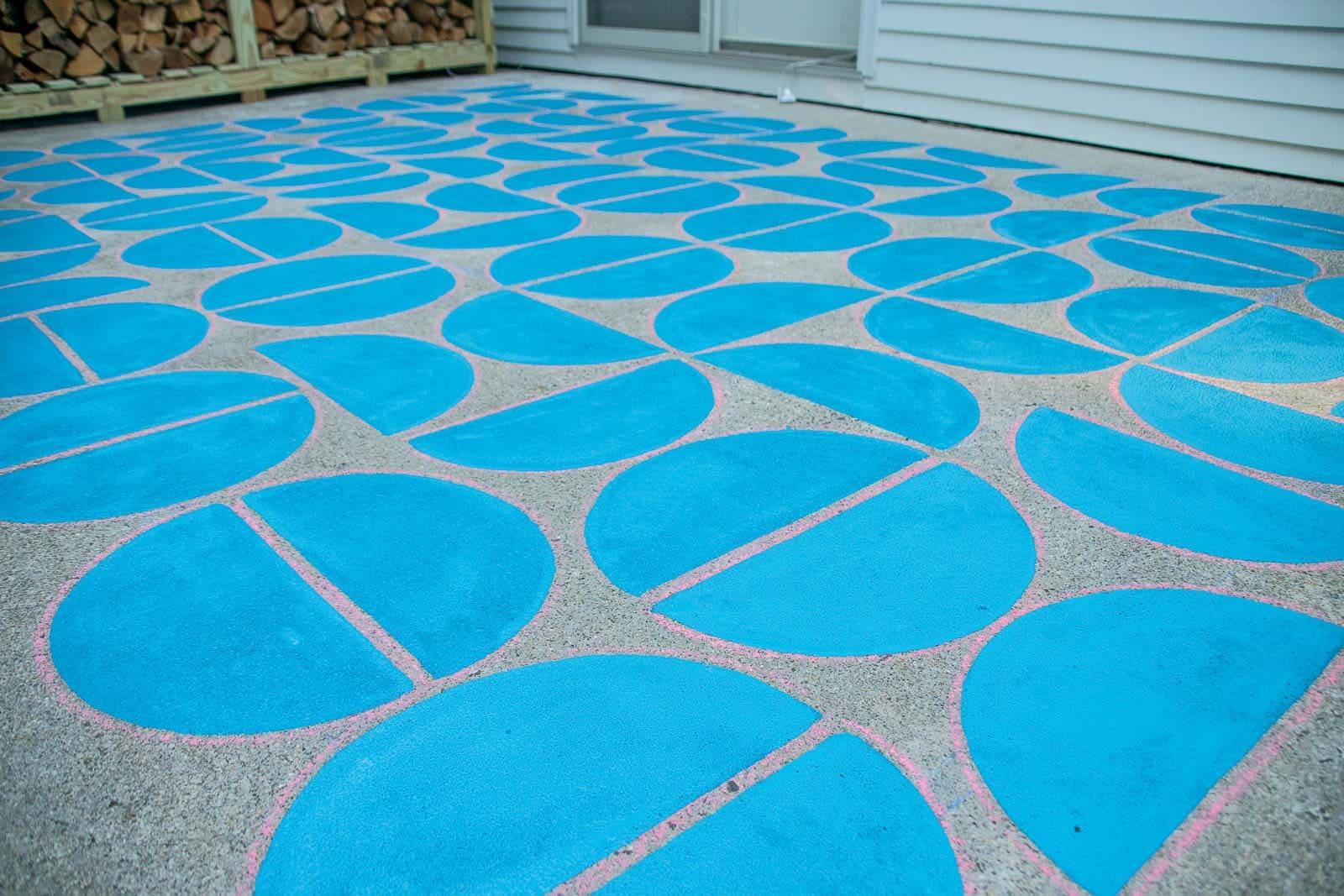 graphic painted concrete patio